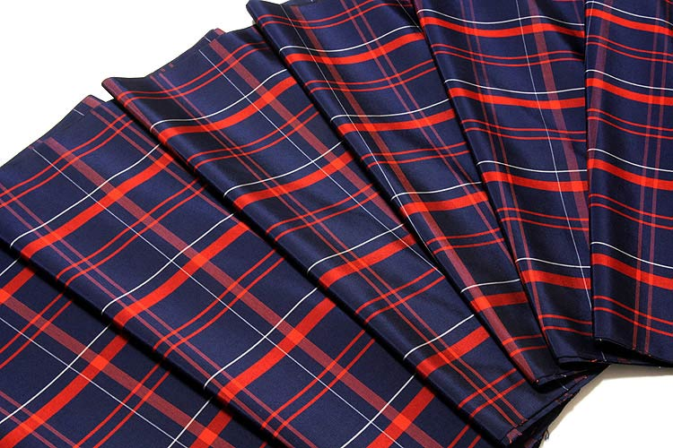 【訳あり】「米琉大島」 格子柄 紺色系に紅緋 オシャレな アンサンブル 羽織 着物 正絹 紬