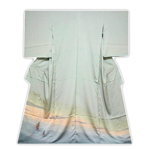 ■手縫いお仕立て付き「まるで刺繍のような-縫い取り」ボカシ丹後ちりめん正絹色留袖■