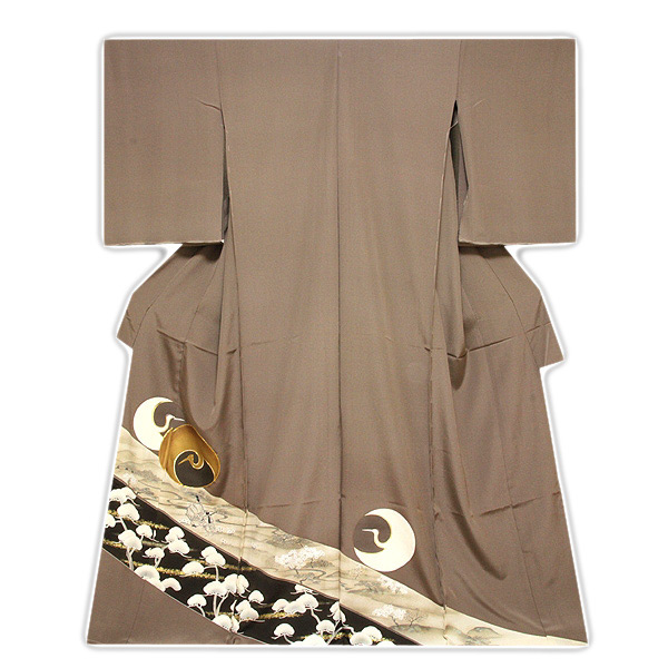 【訳あり】 フルオーダー 手縫いお仕立て付き 「丹頂鶴に金駒刺繍 金彩加工」 丹後ちりめん 正絹 色留袖