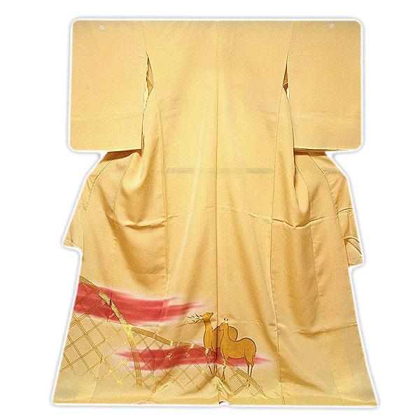 【訳あり】「寿光織-3ッ抜き紋入り」 単衣 八掛けなし 縫い取り 金駒刺繍 ボカシ 色留袖