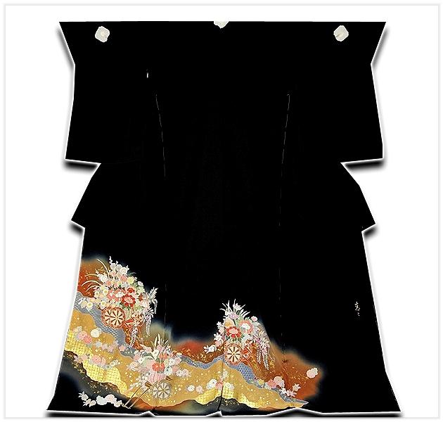 【フルオーダー 手縫い仕立て付き】 「京友禅作家 松井青々」作 金駒刺繍 ボカシ 絶品 最高級 黒留袖