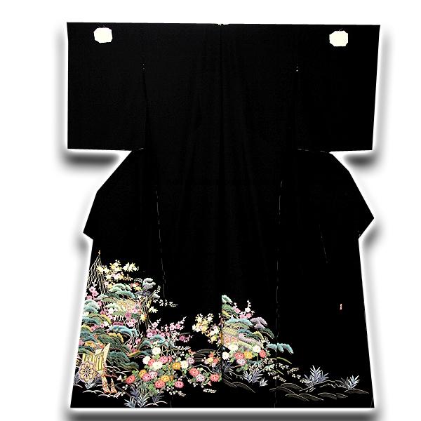 【手縫い仕立て付き】 松竹梅 本染め 浜ちりめん 落款入り 黒留袖