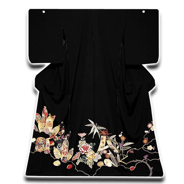 【訳あり】 松竹梅 金駒刺繍入り 浜ちりめん 黒留袖