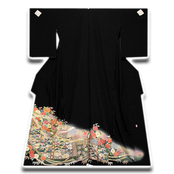 【手縫い仕立て付き】 「落款入り」 松竹梅 金駒刺繍 ボカシ 正絹 黒留袖