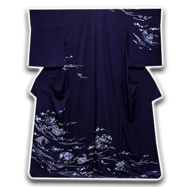 【訳あり】 藍染 熨斗柄 飛び鶴 扇面 浜ちりめん 訪問着