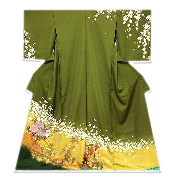 【手縫い仕立て付き フルオーダー】【訳あり】 「高橋かおり-KAORI TAKAHASHI」 桜に藤柄 ボカシ 金駒刺繍 金彩加工 正絹 訪問着