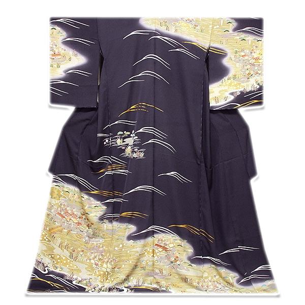 【手縫い仕立て付き フルオーダー】「本染め」 日本の絹 丹後ちりめん 風景図 金駒刺繍 金彩加工 ボカシ 最高級 正絹 訪問着