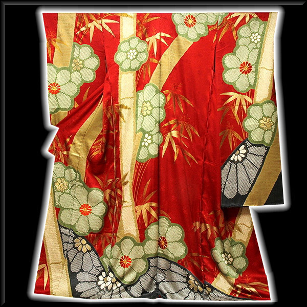 【手縫い仕立て付き フルオーダー】金駒刺繍 金彩加工 絞り入り 地紋 赤色系 振袖