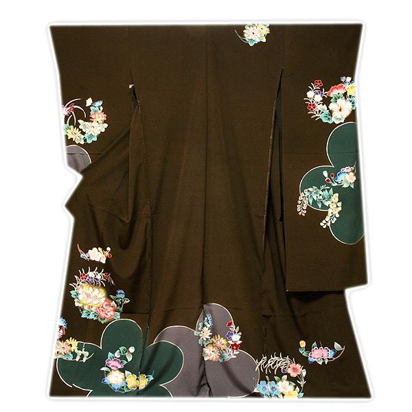 【手縫い仕立て付き フルオーダー】【訳あり】 「染め分け」 金彩加工 花模様 振袖