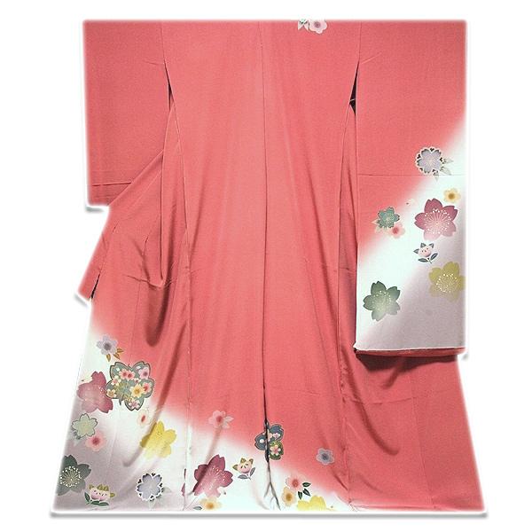 【手縫い仕立て付き フルオーダー】【訳あり】桜柄に金駒刺繍 金彩加工 ボカシ染め 正絹 振袖