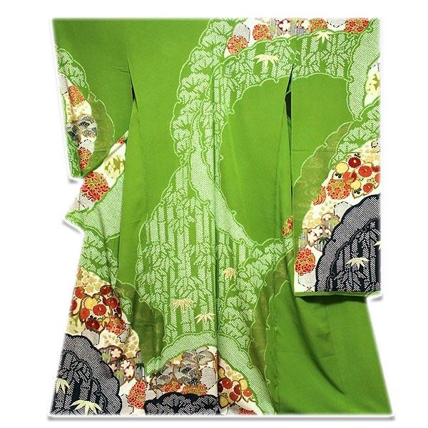 【手縫い仕立て付き フルオーダー】【訳あり】「手絞り」 贅沢な刺繍入り 金彩加工 松竹梅 染め分け 正絹 振袖