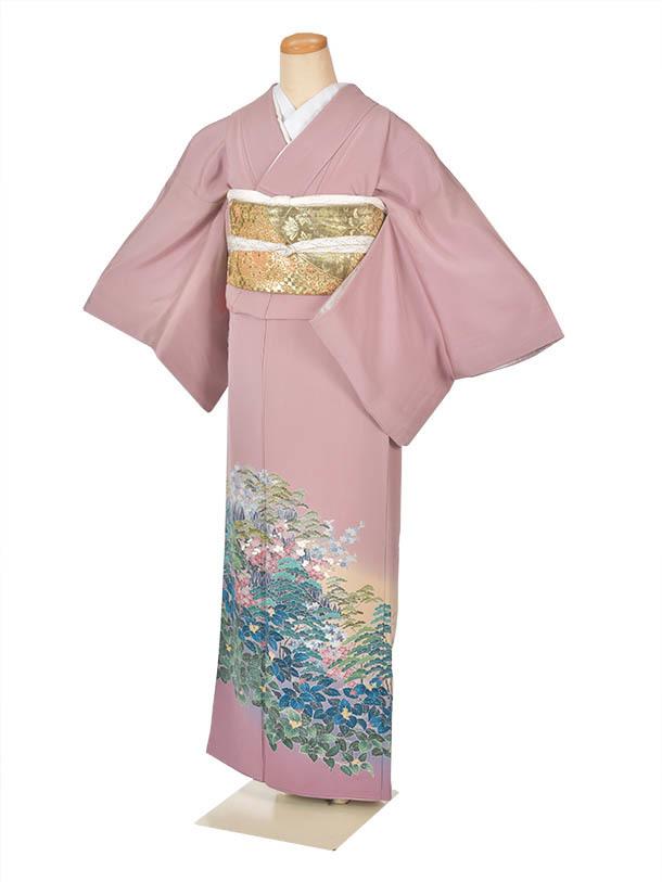 【レンタル】色留袖式典うす紫薄紫着物 結婚式 式典 江戸褄 フルセット 送料無料 着物セット 足袋プレゼント 豪華着物