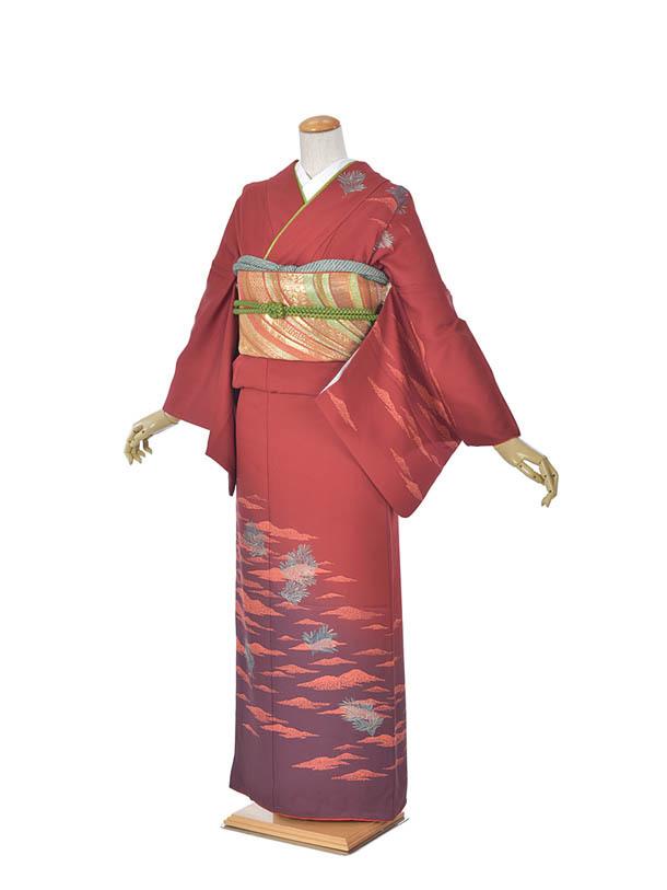 【レンタル】附下 エンジ山 エンジ着物 結婚式 入学式 卒業式 およばれ 式典着物 ママ着物 お茶会 かっこいい 粋