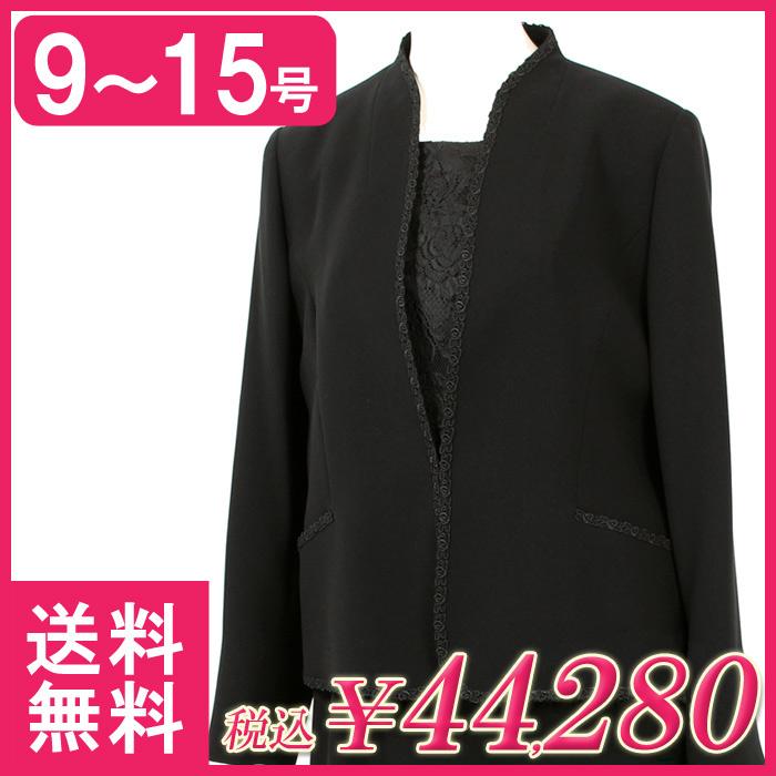 842a3ac145919  国産 ブラックフォーマル 喪服 礼服 スリーピース 前開き ブラックフォーマル レディース ミセス フォーマル 葬儀 スーツ