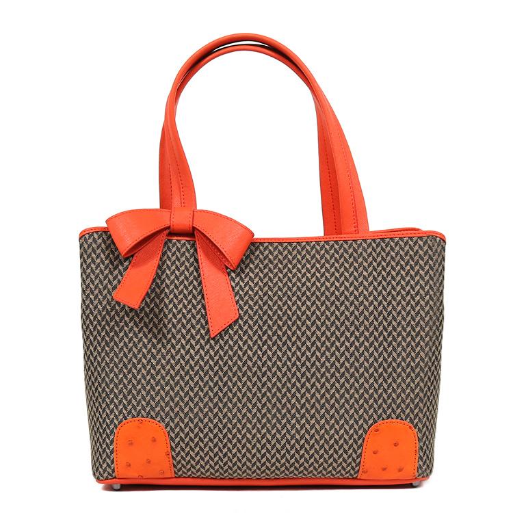 【母の日のギフトにおすすめ】ホースヘアーバッグ オーストリッチバッグ 鞄/かばん ハンドバッグ ブラウン オレンジ リボン 高級天然素材 馬毛 レディース 6849