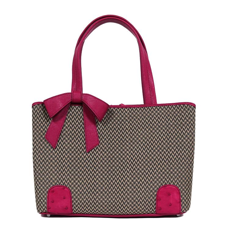 【母の日のギフトにおすすめ】ホースヘアーバッグ オーストリッチバッグ 鞄/かばん ハンドバッグ ブラウン エンジ リボン 高級天然素材 馬毛 レディース 6850