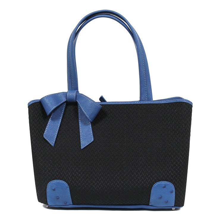 【母の日のギフトにおすすめ】ホースヘアーバッグ オーストリッチバッグ 鞄/かばん ハンドバッグ ブラック ブルー リボン 高級天然素材 馬毛 レディース 6853