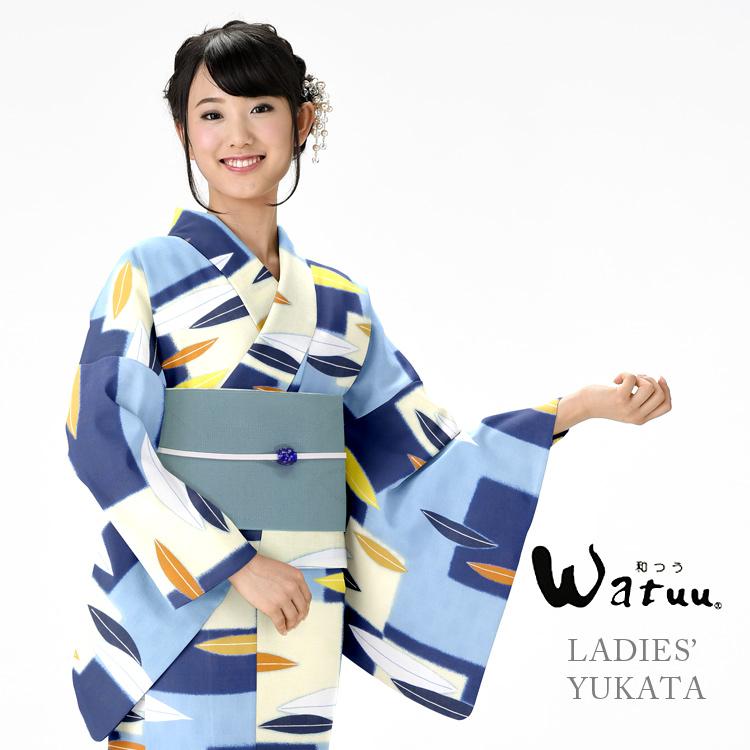 【浴衣 レディース】 和つう watuu ゆかた 女性 浴衣 ブランド浴衣 かわいい 大人 yukata 仕立上がり プレタ フリーサイズ 水色 ブルー 青 レトロ ly080