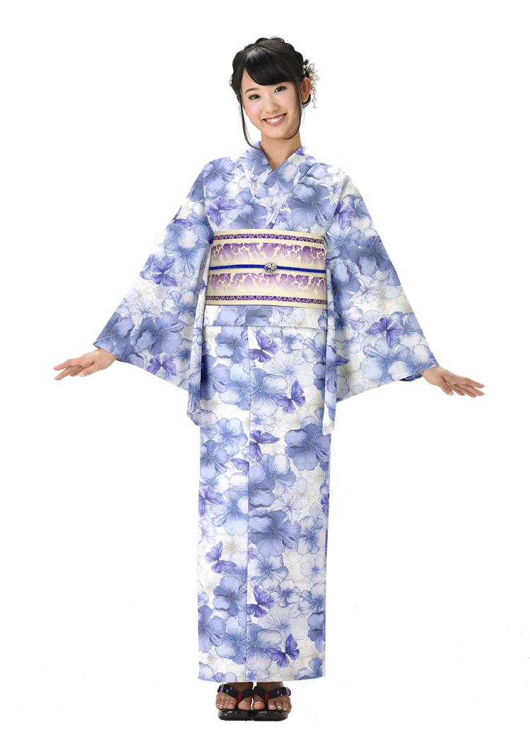 レディース プレタ 可愛い 浴衣 浴衣 青 ブルー ゆかた 大人 浴衣 レトロ 花 女性 フリーサイズ HANAE MORI ブランド浴衣 クリーム かわいい 仕立上がり ly098 yukata