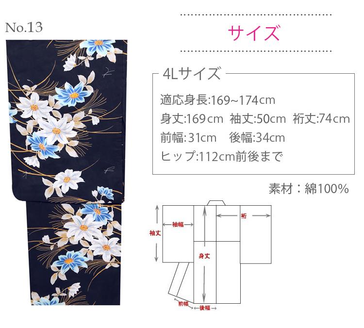 【浴衣 大きいサイズ】 レディース ┃ゆかた 女性 4L ふくよか (ly102)