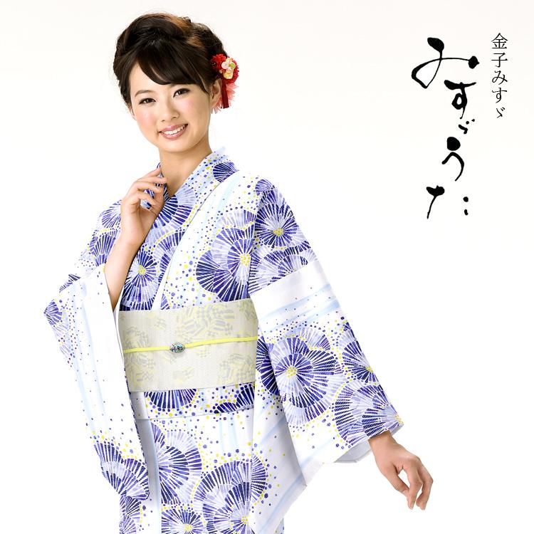 浴衣 レディース みすゞうた ゆかた 女性 浴衣 ブランド浴衣 かわいい 大人 可愛い yukata 仕立上がり プレタ 浴衣 フリーサイズ クリーム 花 青 レトロ ly107