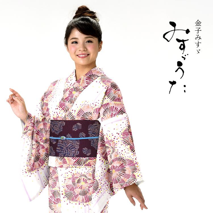 浴衣 レディース みすゞうた ゆかた 女性 浴衣 ブランド浴衣 かわいい 大人 可愛い yukata 仕立上がり プレタ 浴衣 フリーサイズ クリーム 花 レトロ ly108