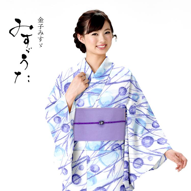 浴衣 レディース みすゞうた ゆかた 女性 浴衣 ブランド浴衣 かわいい 大人 可愛い yukata 仕立上がり プレタ 浴衣 フリーサイズ 白地 シャボン玉レトロ 青 ly111