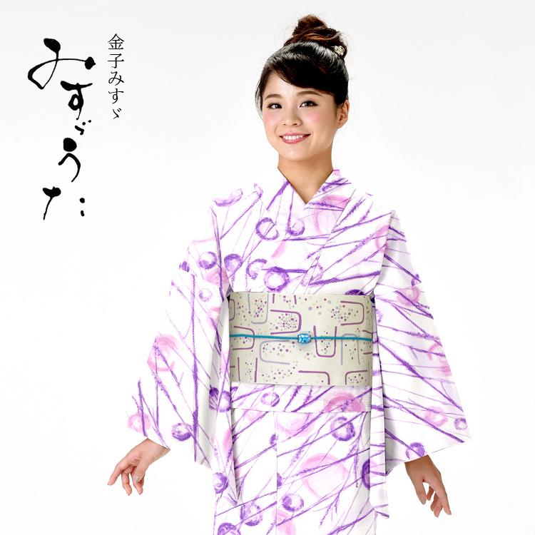 浴衣 レディース みすゞうた ゆかた 女性 浴衣 ブランド浴衣 かわいい 大人 可愛い yukata 仕立上がり プレタ 浴衣 フリーサイズ クリーム シャボン玉 レトロ 紫 パープル ly112