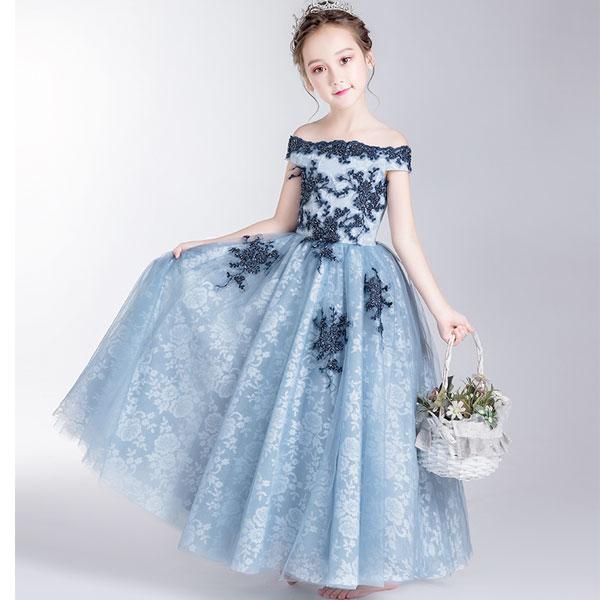 子供ドレス ロング ピアノ発表会 チュール ワンピース 子どもドレス フォーマル 七五三 ジュニアドレス ピンク シャンペン グリーン ドレス ロング 子供ドレス