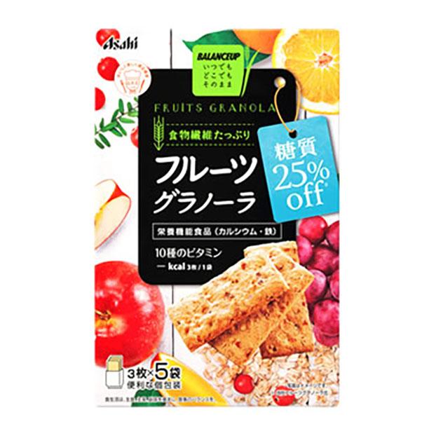 アサヒ バランスアップ フルーツグラノーラ お歳暮 糖質25%オフ 3枚×5袋 オンラインショップ