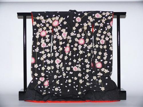ミニチュア着物 (衣桁付)しだれ桜(黒)キット