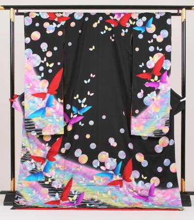 引き振袖(本振袖)・紋服レンタルフルセット黒水玉に蝶【fy16REN07】 05P03Dec16