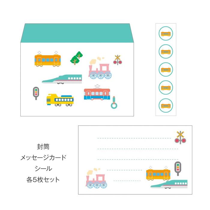 電車(新幹線・鉄道・汽車)/ミニレターセット(プチ封筒・メッセージカード・シール) おしゃれでかわいい京都かみんぐ限定商品