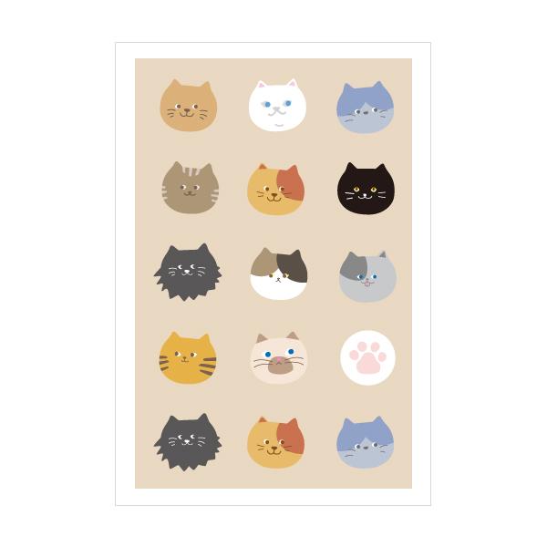 ニャーフェイス 買い物 猫 ポストカード おしゃれでかわいい京都かみんぐ限定ポストカードアート 3枚セット 供え