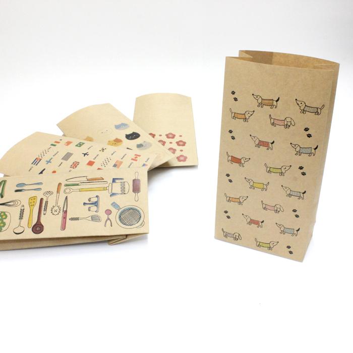 ダックスフンド 紙袋 小 最安値挑戦 1000枚入り 角底 クラフト紙製 おしゃれでかわいいペーパーバッグ お買い得