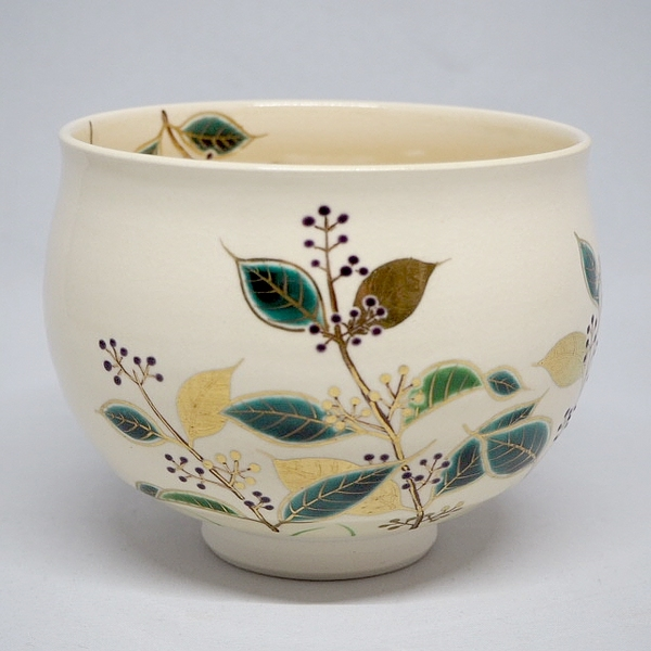 抹茶茶碗 紫式部絵 塩笥