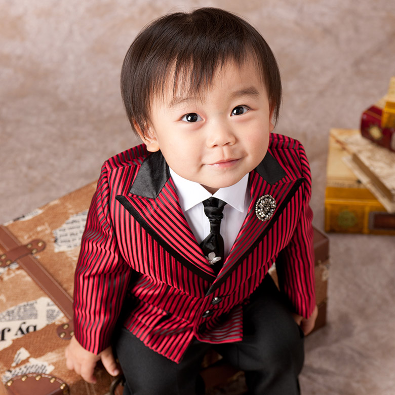 【ベビー礼服】赤黒縞 テーラー ネクタイ付 1才【初節句 誕生日 赤ちゃん】【送料無料】