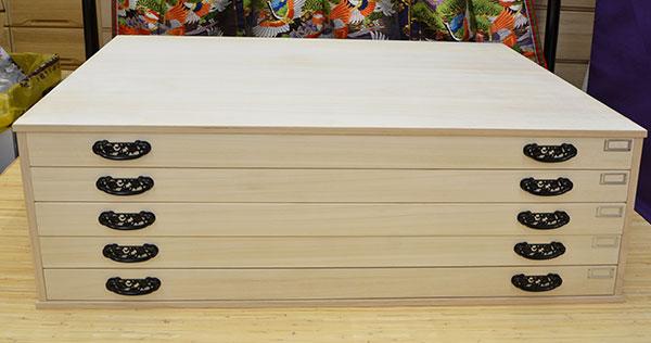 桐タンス 奥行60cm ロウ引き 総桐ビックチェスト 法衣タンス 薄型 引出し 上置き5段ネームプレート付 着物用 桐ダンス