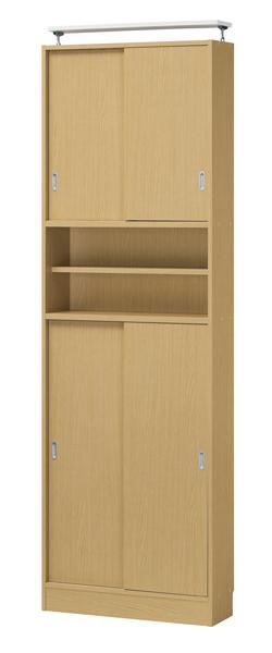 幅733×高さ2329mm 薄型壁面収納。引戸扉の本棚・キャビネット【ピットフィット】PTF-2375SDB 寝室やリビング・ダイニングに設置した際の圧迫感を極力抑えたスリムな設計。