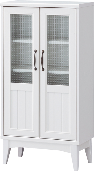 幅566×高さ1090mmレトロモダンの甘さを抑えた白い家具。幅約55cmのガラスキャビネット、本棚。【レトロア】RTA-1155G
