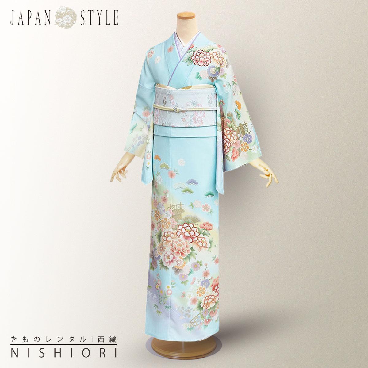 【スーパーSALE】レンタル 訪問着 フルセット JAPAN STYLE ブランド【入学式 卒業式 七五三 結婚式 お宮参り 貸衣装】【フリーサイズ】【往復送料無料】水色 青 牡丹 松