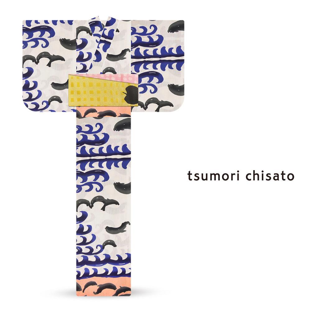 「tsumori chisato/ツモリチサト」ブランド レディース 浴衣  オプション多数 花火大会 夕涼み会 夏祭り【海 イルカ】【6t-14】