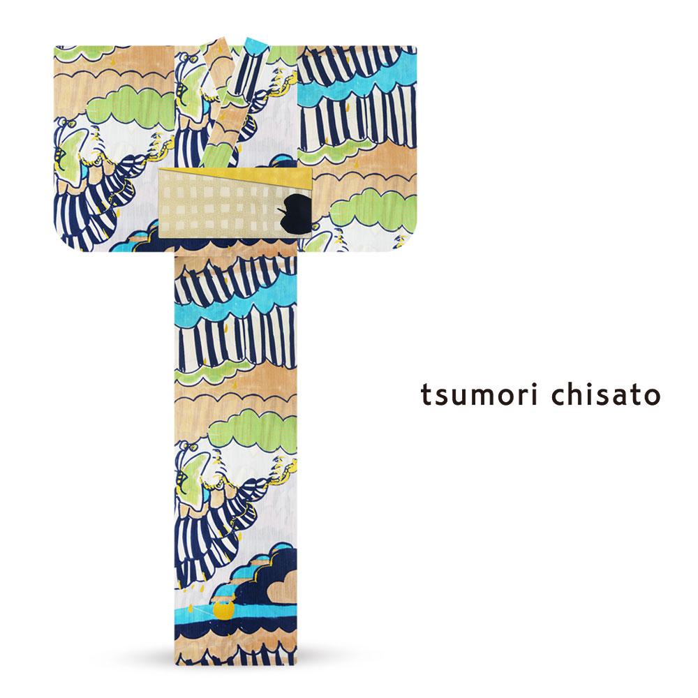 「tsumori chisato/ツモリチサト」ブランド レディース 浴衣  オプション多数 花火大会 夕涼み会 夏祭り【ストライプ 蝶々 青】【6t-27】