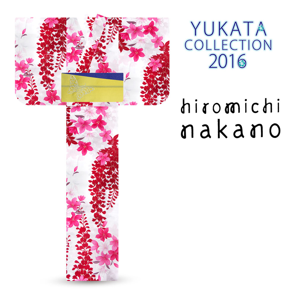 「hiromichi nakano/ナカノヒロミチ」ブランド レディース 浴衣 単品 レトロモダン オプション多数 【白 赤 藤】