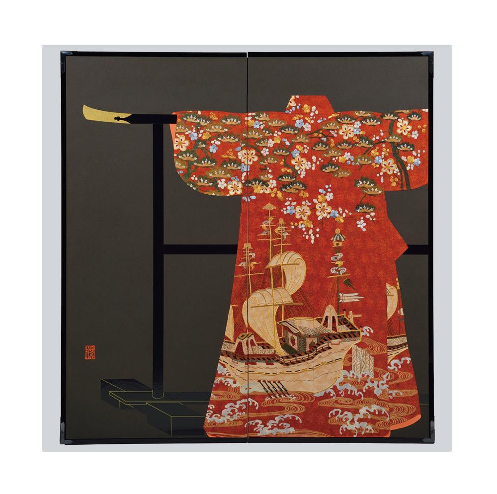 松梅帆船模様・黒・たが袖元禄小袖復元屏風・黒竹節人プロデュース ・京都くろちく