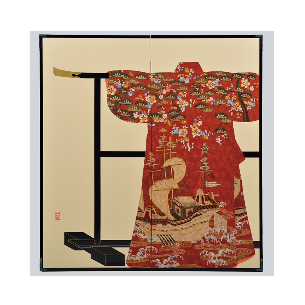松梅帆船模様・鳥の子・たが袖元禄小袖復元屏風・黒竹節人プロデュース・京都くろちく