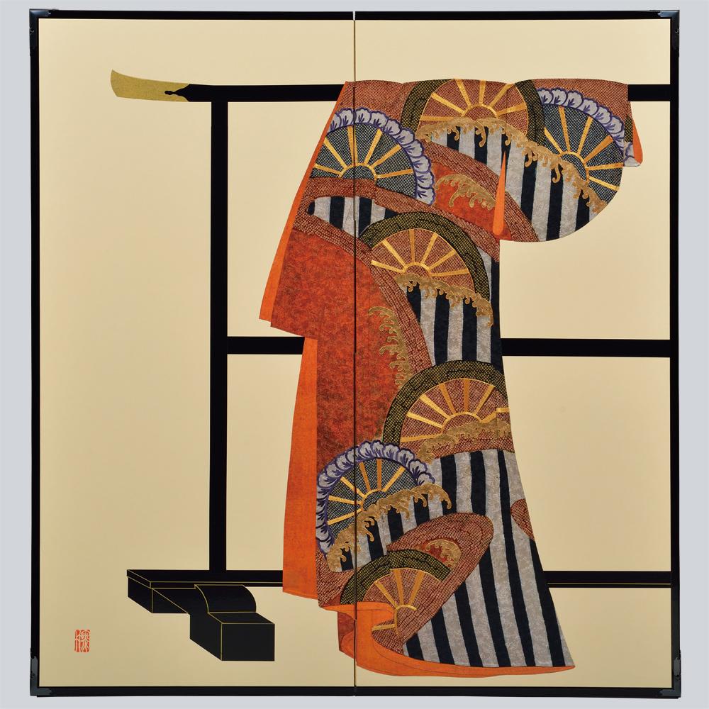 波に片輪車模様・鳥の子・たが袖元禄小袖復元屏風・黒竹節人プロデュース・京都くろちく
