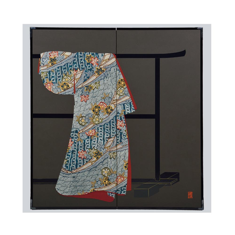 花卉舟模様・黒・たが袖元禄小袖復元屏風・黒竹節人プロデュース・京都くろちく