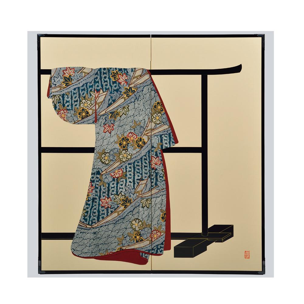 花卉舟模様・鳥の子・たが袖元禄小袖復元屏風・黒竹節人プロデュース・京都くろちく