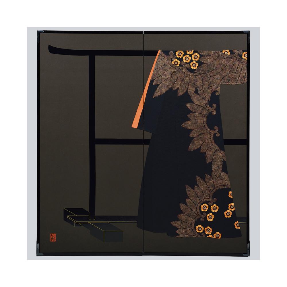 梅花入輪葉模様・黒・たが袖元禄小袖復元屏風・黒竹節人プロデュース・京都くろちく
